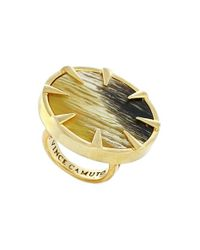 Vince Camuto | Metallic Circular Ring - Olive Horn/ Gold | Lyst