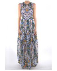 MSGM - Multicolor Long Silk Paisley Dress - Lyst