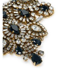 Aerin | Metallic X Erickson Beamon Crystal And Jet Black Stone Bib Necklace | Lyst