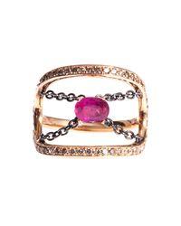 Nikos Koulis | Red Diamond, Ruby & Gold Ring | Lyst