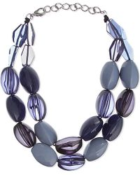 Armani | Blue Double Strand Necklace | Lyst