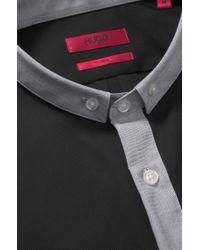 HUGO | Black 'erren' | Slim Fit, Cotton Button Down Shirt for Men | Lyst