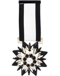 Shourouk - Black Embellished Medal Brooch - Lyst