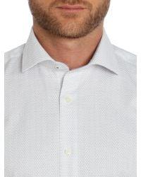 Ted Baker | Gray Tumut Herringbone Slim Fit Formal Shirt for Men | Lyst