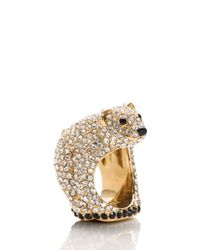 kate spade new york | Metallic Cold Comforts Polar Bear Ring | Lyst