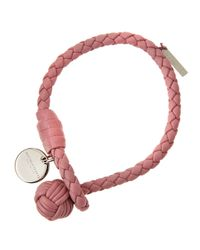 Bottega Veneta | Pink Intrecciato Single Knot Leather Bracelet | Lyst