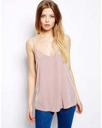 ASOS | Pink Longline Woven Cami Top | Lyst