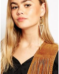 ASOS | Metallic Limited Edition Mismatch 70's Geo Drop Earrings | Lyst