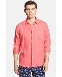 Vilebrequin - Pink 'caroubier' Linen Shirt for Men - Lyst