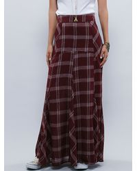 Free People | Purple Womens Mixed Plaid Maxi Skirt | Lyst