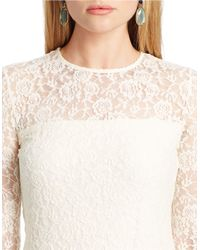 Lauren by Ralph Lauren | Natural Plus Lace Long-sleeved Tee | Lyst
