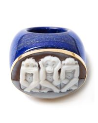 Amedeo - Blue Three Monkeys Signet Ring - Lyst