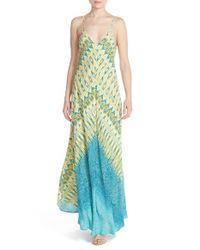 Charlie Jade | Blue Print Silk Maxi Dress | Lyst