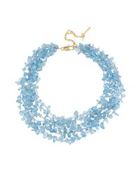 Kenneth Cole - Goldtone Blue Chip Bead Multirow Necklace - Lyst