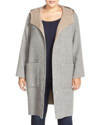 Eileen Fisher | Gray Hooded Double Face Alpaca Blend Coat | Lyst