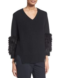 Sally Lapointe - Black Cable-knit Fur-sleeve Sweater - Lyst