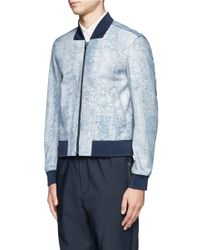 3.1 Phillip Lim - Blue Cracked Leather Bomber Jacket for Men - Lyst