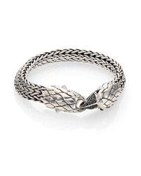 John Hardy | Metallic Classic Chain Black Sapphire, Black Chalcedony & Sterling Silver Eagle Head Bracelet | Lyst