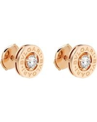 BVLGARI | - 18ct Pink-gold Stud Earrings With Diamonds | Lyst