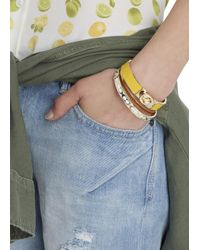 COACH | Yellow Mustard Leather And Gold Plated Bangle | Lyst