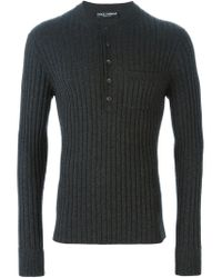 Dolce & Gabbana - Gray Knitted Henley Top for Men - Lyst