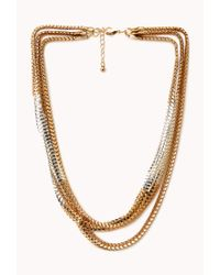 Forever 21 - Metallic Draped Cone-charm Multi-chain Choker - Lyst