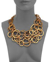 Oscar de la Renta | Metallic Circle Cluster Bib Necklace | Lyst
