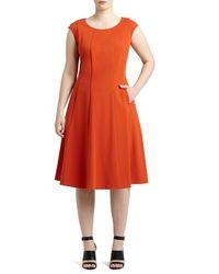 Lafayette 148 New York | Orange Bev Cap-sleeve Midi Dress | Lyst