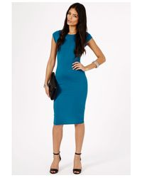Missguided - Blue Cailey Bodycon Midi Dress - Lyst