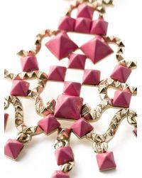 Valentino - Pink 'rockstud' Chandelier Clip-on Earrings - Lyst