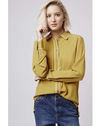 TOPSHOP | Yellow Contrast '70s Shirt | Lyst