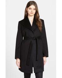 Fleurette | Black Belted Cashmere Wing Collar Wrap Coat | Lyst