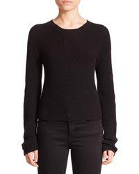 Helmut Lang | Black Cropped Merino Wool & Cashmere Sweater | Lyst