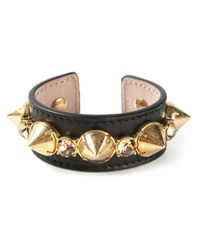Alexander McQueen | Black Leather Cuff Bracelet | Lyst