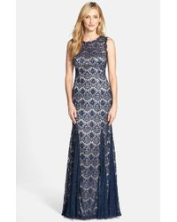 Betsy & Adam | Blue Lace Mermaid Gown | Lyst