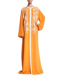 Oscar de la Renta - Orange Embroidered Silk-crepe Caftan Gown - Lyst
