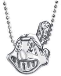 Alex Woo - Metallic Mlb Collection By Sterling Silver Cleveland Indians Pendant Necklace - Lyst