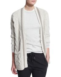 Brunello Cucinelli - White Monili-beaded Cable-knit Cardigan - Lyst