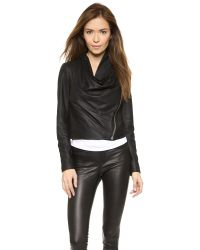 Helmut Lang - Drape Front Leather Jacket - Black - Lyst