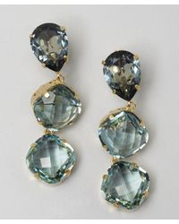 Joanna Laura Constantine | Light Blue Triple Crystal Drop Earrings | Lyst