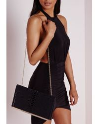 Missguided - Laser Cut Clutch Bag Black - Lyst