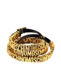 Moschino | Black Double Wrap Lettering Bracelet | Lyst