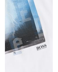 BOSS Green - White T-shirt 'tee 4' In A Cotton Blend for Men - Lyst
