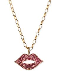Sydney Evan - Red Pave Ruby Lip Charm Necklace - Lyst