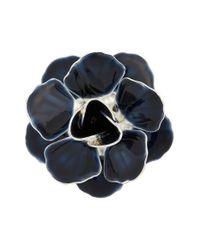 Hook + Albert   Blue Metallic Floral Lapel Pin - Navy/ Silver   Lyst