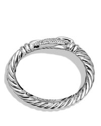 David Yurman | Metallic Cable Buckle Large Bracelet With Diamonds | Lyst