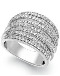 Macy's | Metallic Diamond Stacked Ring In Sterling Silver (1/2 Ct. T.w.) | Lyst