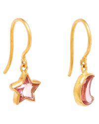 Marie-hélène De Taillac | Pink 18kt Gold Mismatch Tourmaline Earrings | Lyst