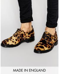 ASOS | Black Derby Shoes In Leopard Made In England for Men | Lyst