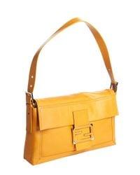Fendi - Orange Tangerine Leather Zucca Buckle Detail Shoulder Bag - Lyst